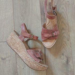 Born Leather Platform Wedge Sandal